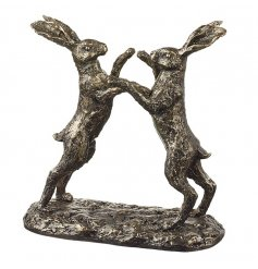 A beautiful chic inspired designed pair of boxing hares