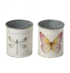 A mix of 2 pretty dragonfly and butterfly design planters. A great multi-purpose storage item too!