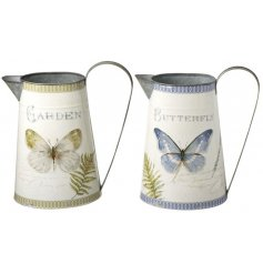 A mix of two green and blue butterfly design jugs. A chic decoration for the home or garden.