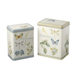 A set of 2 pretty dragonfly and butterfly design storage boxes.