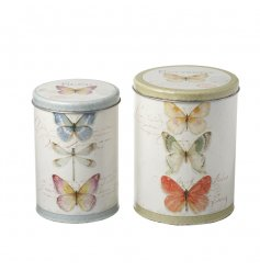 A set of 2 pretty botanical butterfly canisters. Ideal for storing garden tools, baked goods and more!