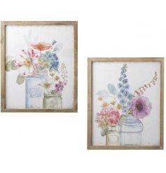 An assortment of 2 framed watercolour floral prints. A pretty decoration for the home.