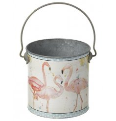 A pretty flamingo design bucket. A colourful watercolour design print.
