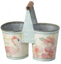 Plant your favourite Spring flowers in this colourful watercolour design flamingo and floral bucket.
