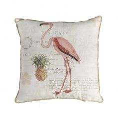 A vintage themed plump cushion with a post card styled background and flamingo