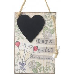 Count down the days until your retirement with this stylish wooden chalkboard