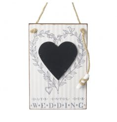Count down the days until your wedding in style with this heart shaped chalkboard and leaf boarder.