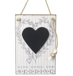 A sweet and charming little hanging wooden plaque with a heart blackboard,