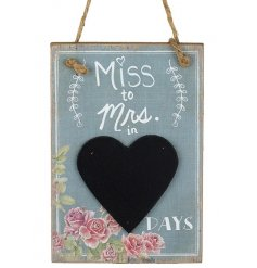 This beautifully vintage themed wooden board with a chalkboard heart