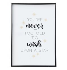 You're never too old to wish upon a star. A pretty framed wall art with a star design.