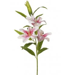 A large 3 stem pink lily artificial flower. A lovely floral feature item for the home.
