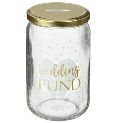 Save up all your pennies for your big day in this gold and white themed money jar