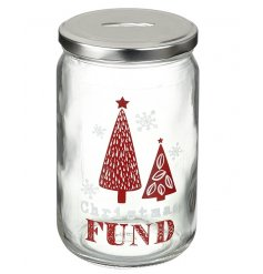 Save up all your pennies for the christmas period in this quirky and colourful glass penny pot