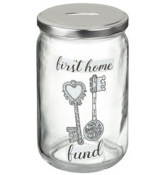 Save up all your pennies in this quirky and colourful glass penny pot
