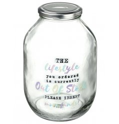 This clear glass jar with screwable metal lid is a great way to save your pennies