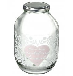 This beautiful glass jar is a great way to store your wedding funds.