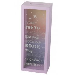 With its pink painted wood frame and calming coloured backdrop, this large money box is perfect for all spaces