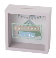 A smooth wooden framed money box with colourful pastel prints, perfect for saving for your favourite festivals