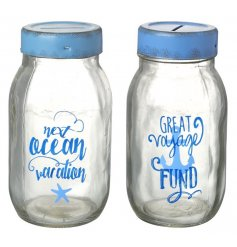 These vacation themed glass money pots are a great way to save for your travels!
