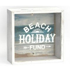 Beach Holiday Fund Money Box  A white washed wooden money box, a perfect way to save for that sunny beach get away