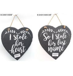This sweet duo of slate hearts will make for a perfect wedding display