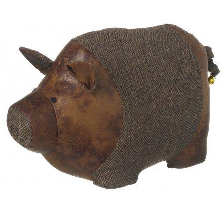 Leather Look And Fur Pig Door Stop