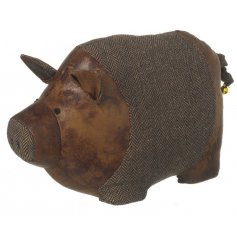 This little piggy wont go to the market! Instead he will sit perfectly in front of any door he's placed near