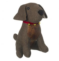 Set in style with his Tweed fabric fur and faux leather underbelly, this little pooch will sit perfectly infront of any