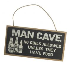 "A stylish natural toned and black hanging wall plaque with a funny ""NO GIRLS ALLOWED, UNLESS THEY HAVE FOOD"" Quote"