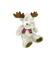 Cuddle up with this adorable reindeer soft toy. Complete with a red scarf. Perfect for little ones to play with.