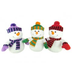 3 assortments of huggable soft snowmen