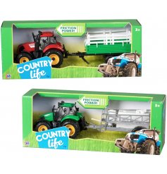 A fun assortment of tractors and trailers in a choice of colours