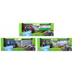 A fun assortment of tractors and trailers in blue, green and red.