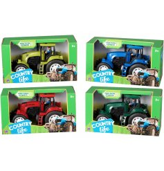 A fun assortment of tractors in a red, blue and green colour