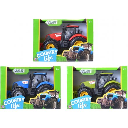 A fun assortment of tractors and diggers in a red, blue and green colours