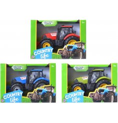 A fun assortment of tractors in blue, red and green