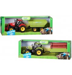 A cool assorted tractor toy set, complete with a trailer full of logs