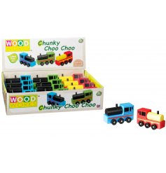 A mix of colourful wooden train toys. A great gift for little ones to explore and enjoy.