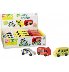 An assortment of 3 charming wooden toys including 3 emergency vehicles. A police car, fire engine and ambulance