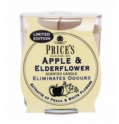 A fine quality and beautifully scented Apple and Elderflower candle by Prices.