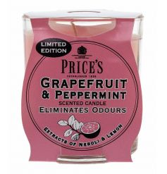 A fine quality and beautifully scented Grapefruit and Peppermint candle by Prices.