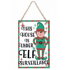 Ensure the kids are well behaved this season with our fun and fabulous Elf Surveillance wooden sign.