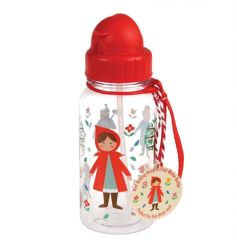 A fairytale Red Riding Hood print children's water bottle with in-built straw. Made from BPA free plastic.
