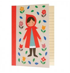 Doodle, make notes and draw in this fairytale red riding hood design notebook with lined pages.