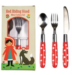 A three piece polkadot cutlery set in the fairytale red riding hood design box.