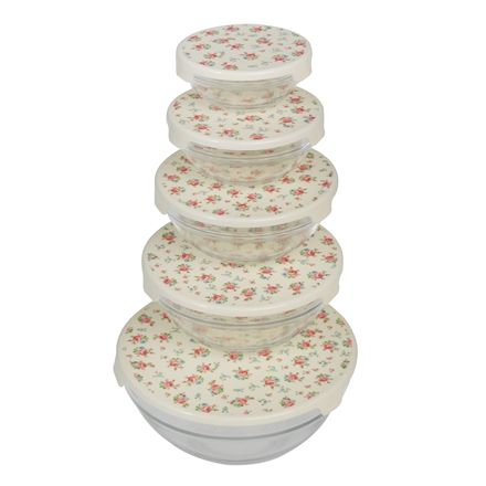 A set of 5 heat resistant nesting La Petite Rose glass bowls, perfect for storing and preparing food.