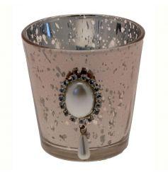 A pretty vintage style glass votive with a beautiful decorative gem ornament.