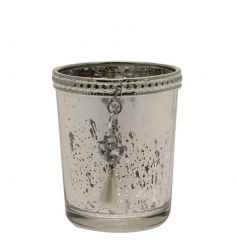 A vintage looking glass candle pot, complete with a beaded boarder and dangling pearl like droplet