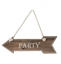 Let everybody know where the party's at with this wooden pointing arrow sign
