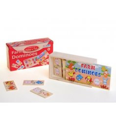 Enjoy hours of fun with this wooden farm dominoes set.